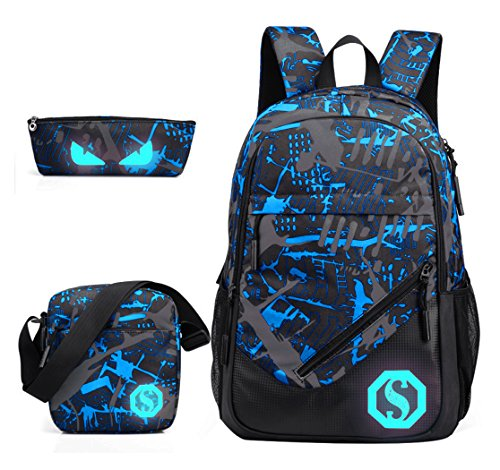 JiaYou Boy 20L Fashion School Bag Backpack with Florescent Mark 3 Sets/2 Sets(ColorF 3 Sets,20L)