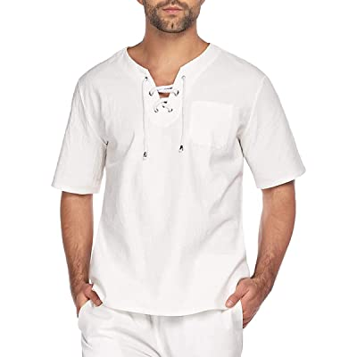 Men Summer Tee T Shirts Loose Kaftan Top Beach Long Sleeve Blouse Top