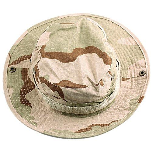 squaregarden Military Camo Adjustable Boonie Hat Hunting Bucket Hats / Desert (Desert Camouflage Camo Hat)