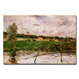 This ready to hang, gallery wrapped art piece features a country landscape. Paul Gauguin was a leading Post-Impressionist painter. His bold experimentation with coloring led directly to the Synthetist style of modern art while his expression of the i...