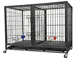Go Pet Club NY-44 44'' Heavy Duty Stackable Cat/Dog Crate with Divider and Water Bowls