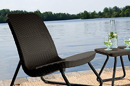 Keter Rio 3 Pc All Weather Outdoor Patio Garden Conversation Chair & Table Set Furniture, Brown by Keter (Image #6)'