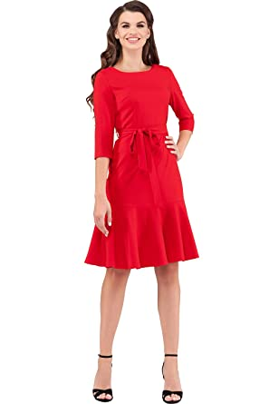e9f959447214 Women's Elegant Modest 3/4 Sleeve Crewneck Belted Semi Formal Midi Work  Cocktail Dress (