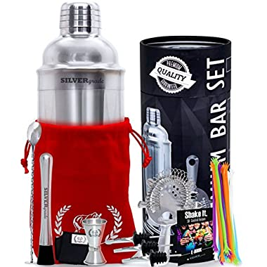 Cocktail Shaker Set - Professional Bartender Kit in a Luxury Bag, Martini Bar Mixed Muddler Mixing Spoon Strainer Jigger 2 Pourers Stirrers and eBook, Great Gift Idea - Barware Tools by SILVERgrade