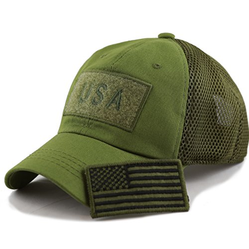 Cap Cotton Closure Buckle (THE HAT DEPOT Low Profile Tactical Operator With USA Flag Patch Buckle Cotton Cap (USA- Olive))