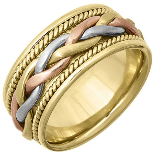 14K Tri Color Gold Braided French Braid Women's Comfort Fit Wedding Band (11mm) Size-4.5c1 ()