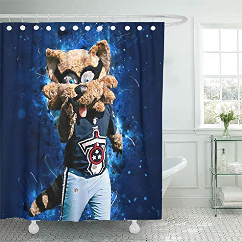 Ladble Decor Shower Curtain Set with Hooks T-Rac Mascot Tennessee Titans Abstract Art Creative USA 72 X 78 Inches Polyester Waterproof Bathroom