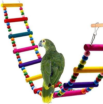 Kentop Juguete de Ave Colorida Escalera Columpio Flexible de Madera para Loros Mascotas: Amazon.es: Hogar