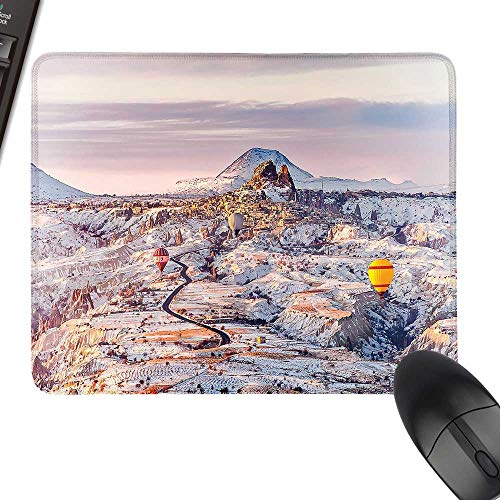 (Winter Waterproof Mousepad Cappadocia Turkey Landscape with Hot Air Balloons Anatolia Valley Geology Tourism Natural Rubber Gaming Mouse Mat 23.6