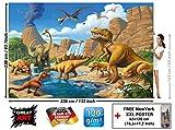 GREAT ART Children's Room Wall Mural - Childrens Room Dinosaur Adventure - Decoration Dino World Comic Style Poster Vulcano Prehistoric Animals Waterfall (132.3 x 93.7 Inch / 336 x 238 cm)