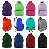 Wholesale 17'' Backpacks for Kids & Adults - Bulk Case of 24 Bookbags - 12 Assorted Colors