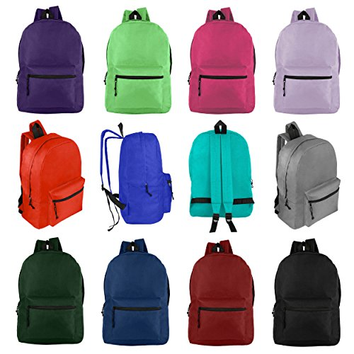 """Wholesale 17"""" Backpacks for Kids & Adults - Bulk Case of 24 Bookbags - 12 Assorted Colors"""