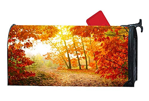 Customizable Seasonal Mailbox Cover Magnetic for Standard Metal/Steel Mailboxes Personalized Mailbox Covers and Wraps 6.5 x 19 inches - Fall Path Misty Leaves