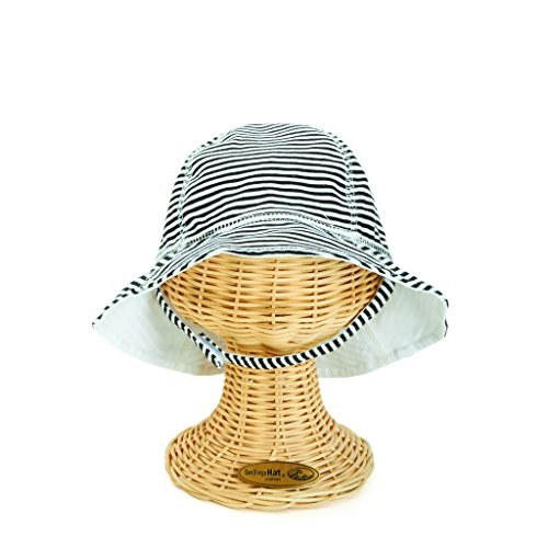 San Diego Hat Company Kids Striped Sun Hat - X-Small, Aqua (Black/White, One Size) by San Diego Hat Company