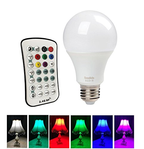 LED RGB Remote Light Bulb - Sendida A19 12W E26 E27 LED Mood Light Color Changing Lamp, Dimmable with 2.4G RF Wireless Remote Control Décor Colors Lighting Bulb