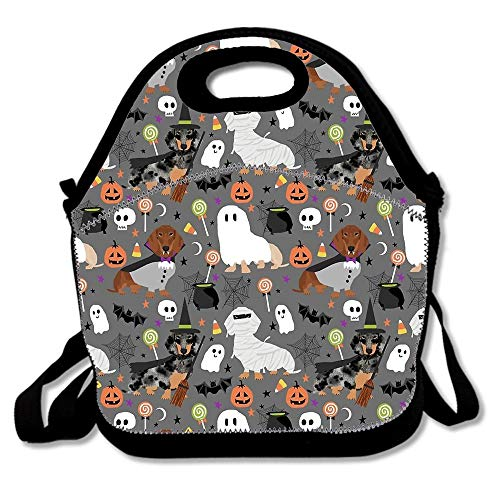 Dachshund Dog Breed Halloween Dog Costume Doxie Dachsie Pattern Insulated Neoprene Lunch Bag-Removable Shoulder Strap-Reusable Lunch Tote/Lunch Box/Cooler Bag For Teens,Girls,Kids,Adults -