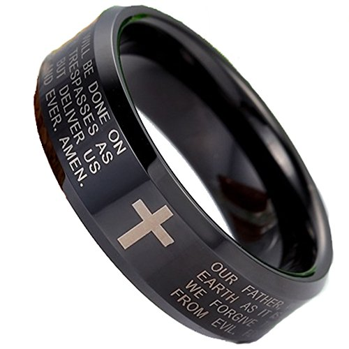 Fashion Month Men Women 8mm Tungsten Carbide Black Ring Engraved English Bible Lords Prayer Cross Band Ring for Her Him