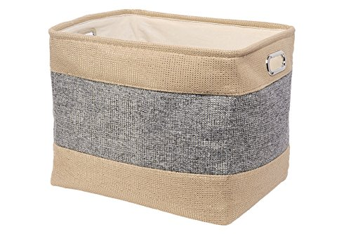 Perber Large Linen Collapsible Rectangular Storage Bins for Kids Toys,Pet Toys,Baby Clothes, Bedroom,Office,Closet Organizer