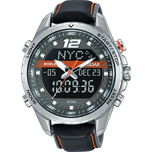 PZ4029X1 Pulsar Mens Analogue Digital Grey Dial Grey Leather Strap Watch