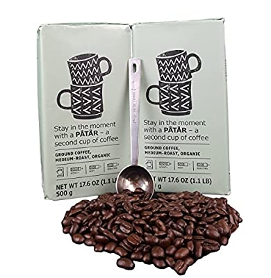 IKEA Ground Coffee, Medium Roast Bulk Bundle - 100% Organic Arabica Coffee - 17.6 Oz Each (Pack of 2 - Total 35.2 oz) With Stainless Steel Measuring Coffee Spoon