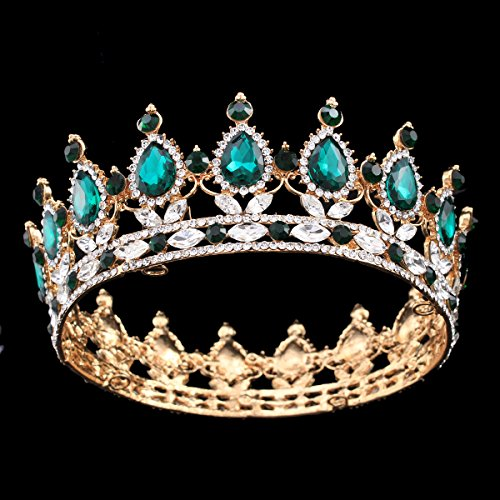 Ulike2 King/queen Crown Red Ruby Stone Sapphire Tiaras Gold/silver Plated Hair Jewelry (14#)