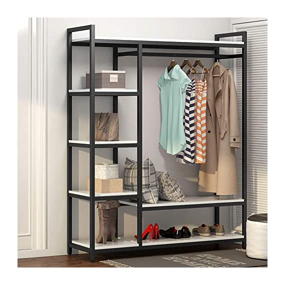 LITTLE TREE Free-Standing Closet Organizer,Heavy Duty Clothes Rack with 6 Shelves and Handing Bar, Large Closet Storage Stytem & Closet Garment Shelves,White - Incredible Weight Capacity : Heavy duty metal frame combine with thick particle board makes the it super stable and sturdy, no wobble and collapse. The Weight capacity is 350 lb. Ideal for being a long-term closet storage organizer. Large Storage Solution : 2 large shelves and 4 small ones ensure you plently of room to place clothes, accessries, shoes etc. The garment rods hold up 50 lb. For hanging your dress and suits. And put large box on the top for added storage. Freestanding & Portable Closet: The portable storage organizer perfect for clothes and shoes in cramped closets. Making small spaces more functional. Simple and chic design adds instant storage to any room. Easily transport your freestanding wardrobe. - hall-trees, entryway-furniture-decor, entryway-laundry-room - 51cEfXU%2BB L. SS570  -