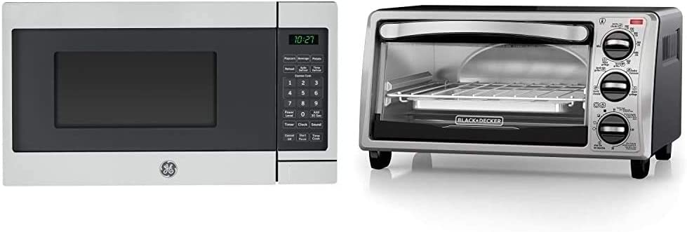 GE JES1072SHSS 0.7 Cu. Ft. Capacity Countertop Microwave Oven with Auto and Time Defrost, in Stainless Steel & Black+Decker TO1313SBD Toaster Oven, 16.4 Inch, Silver