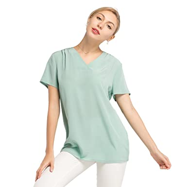 36d4d4a96b LILYSILK Silk T Shirt Blouse for Womens Pure Mulberry Basic V Neckline Face  Framing 16MM Tops for Ladies Summer  Amazon.co.uk  Clothing