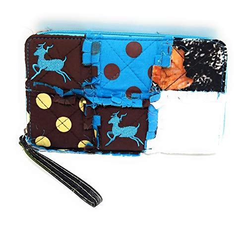 Patchwork Wristlet Purse - Mad Styles Jp Patchwork Ragbag Polka Dot Camo Zipper Wristlet Western Womens Wallet (Deer, Blue)