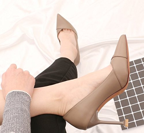 Lady All Leisure With Spring Shoes Pointed Cat Grey 9Cm With Shallow Elegant Fine MDRW A Match The 37 Shoes Work Mouth Temperament Heeled High Shoes 4TCwtqd