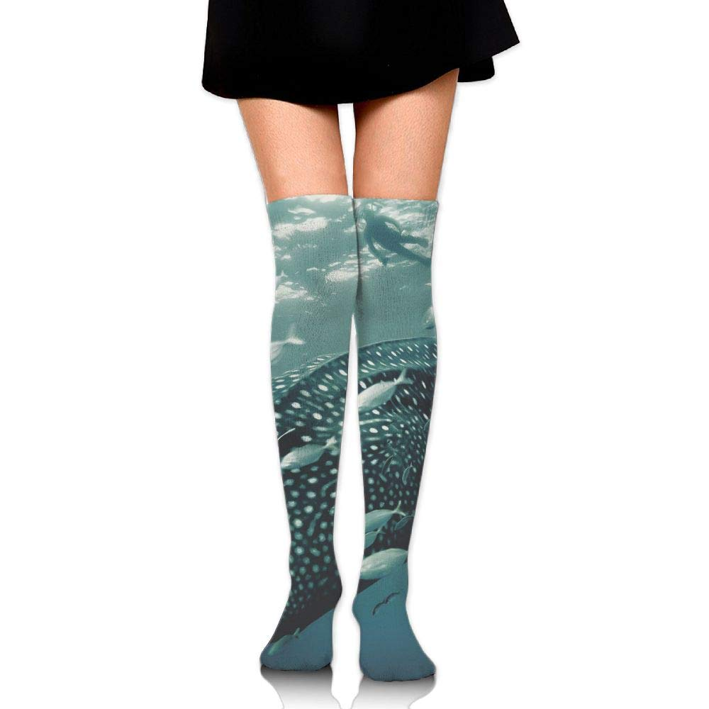 High Elasticity Girl Cotton Knee High Socks Uniform Big Whale And Small Fishes Women Tube Socks