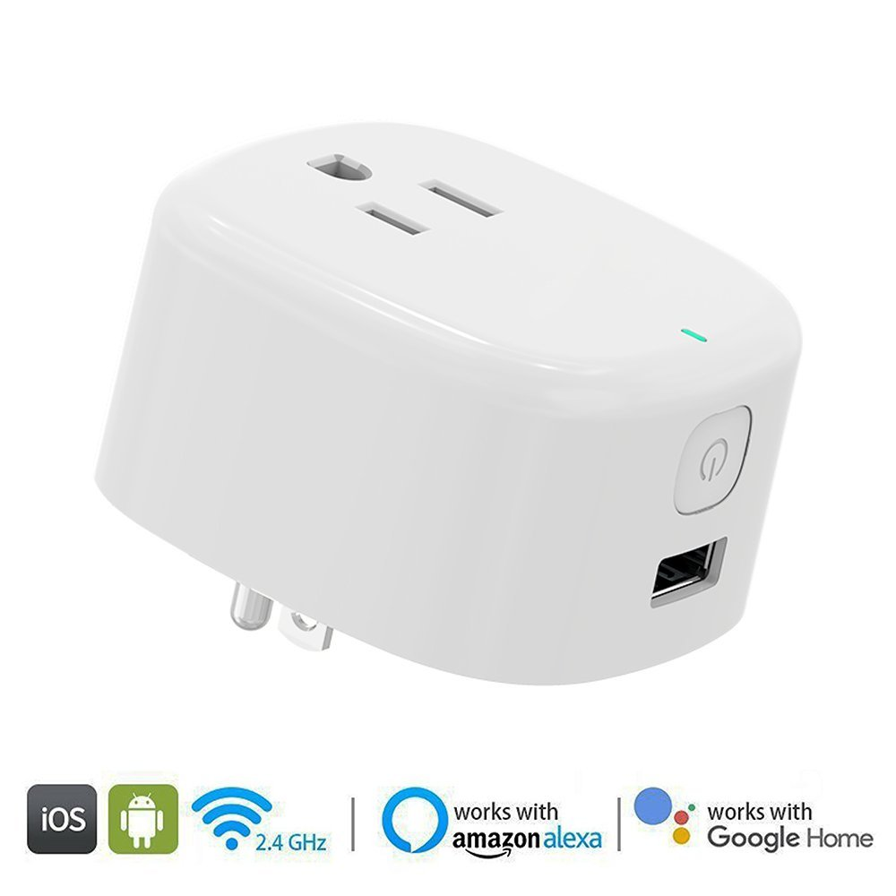 WiFi Smart Plug, Smart Outlets ,Smart Socket No Hub Required,Works with Amazon Alexa Echo and Google Home Assistant IFTTT, Controls Your Devices from Anywhere,with 5V 1A USB Charging Port ( 1-Pack)