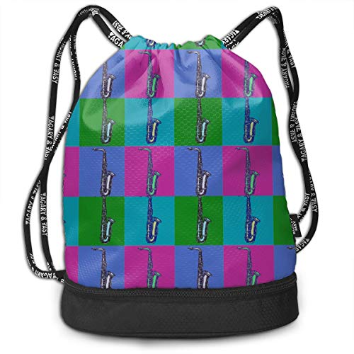 Zhangyi Saxophone Pop Art Drawstring Backpack Sports Gym Cinch Sack Bag for Gym Hiking Travel Beach Sackpack Dance Bag