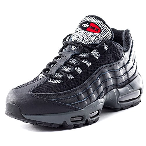 Nike Men's Air Max 95 Essential Running Shoes, Black, 9 Schwarz / Grau / Rot (Blk / Gry-anthrct Cl-unvrsty Rd)