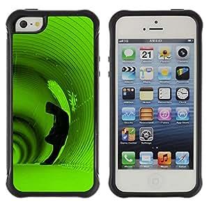 LASTONE PHONE CASE / Suave Silicona Caso Carcasa de Caucho Funda para Apple Iphone 5 / 5S / Deep Tunnel Hoodie Man Green Alone