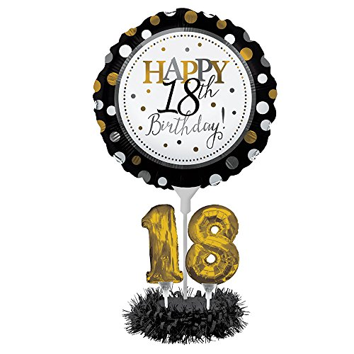 Happy 18th Birthday Balloon Centerpiece Black and Gold for Milestone Birthday