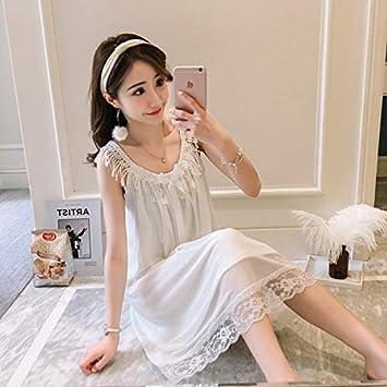 WXNLEAI Pijamas Camisón de verano para mujer Cordón de algodón ...