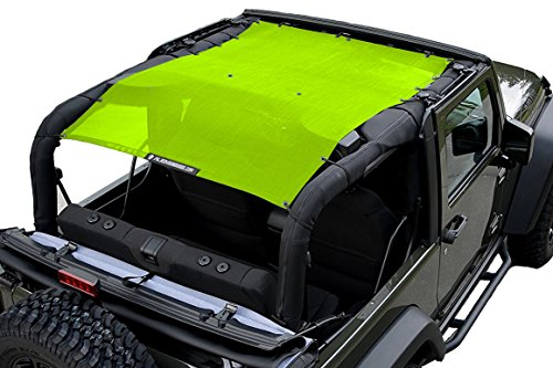 (ALIEN SUNSHADE 2-Door Jeep Wrangler Mesh Shade Top Cover with 10 Year Warranty Provides UV Protection for Your JK (2007-2017) Green)