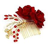 M Bridal Women's Crystals Rhinestones Handmade Red Rose Flowers Wedding Hair Accessory O929