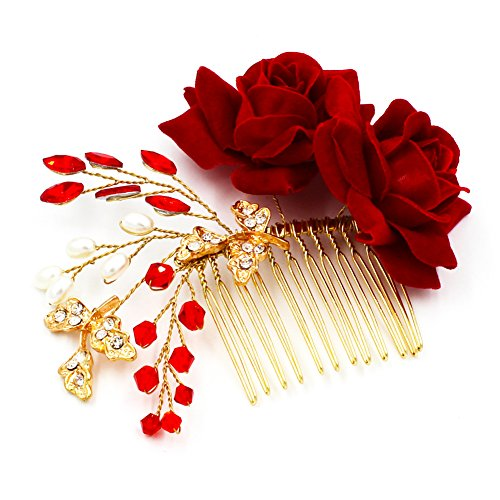 M Bridal Womens Crystals Rhinestones Handmade Red Rose Flowers Wedding Hair Accessory O929
