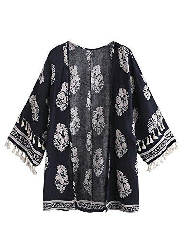 (Milumia Women's Printed Shawl Kimono Cardigan Tops Cover up Blouse Medium Multicolor-3)