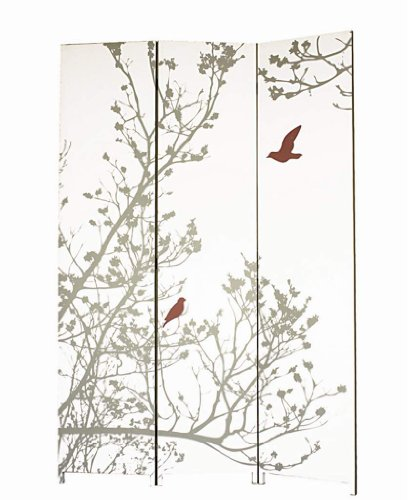 - nexxt Bota Triple-Panel Floor Screen, 48 by 71 Inch, Taupe Branches and Red Birds