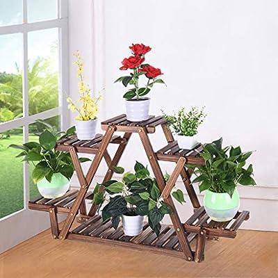 HSada Wood Plant Stand 6 Tiered Corner Plant Shelf Holder Flower Pot Display Shelving Rack Succulents Organizer Shelves for Patio Garden Balcony Living Room,Triangular,Ship from USA: Sports & Outdoors