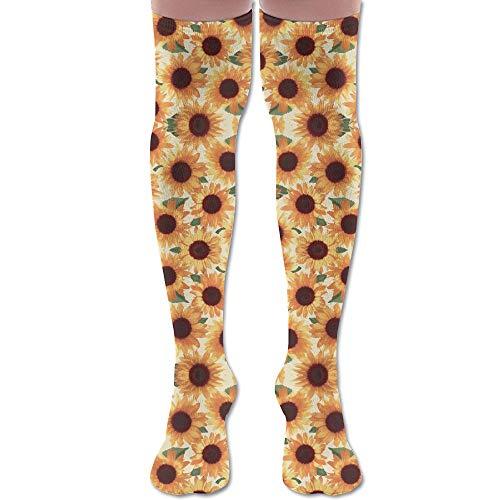 HFJDLSK Knee Long Socks Tube Thigh-High Sock Stockings - Big Happy Orange Sunflowers Wallpaper (1908) Print for Girls & Womens ()