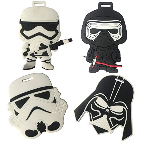 Star Wars Travel Luggage Tag for Bags with Adjustable Strap - Set of 4 (Luggage Tag Star Wars)