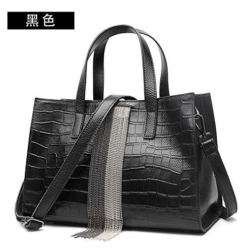GUANGMING77 Große Tasche Weibliche Persönlichkeit Große Kapazität Einzelne Schultertasche Handtasche black KBwI22T