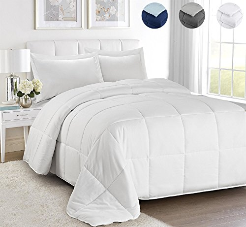 HUAJIE 2 Piece All Season Down Alternative Comforter Set,Duvet Insert or Stand Alone with 1 Sham,Reversible Box Stitched Quilted Comforter with Corner Duvet Tabs,Soft Plush(Twin&Twin XL,White) - White Soft Plush