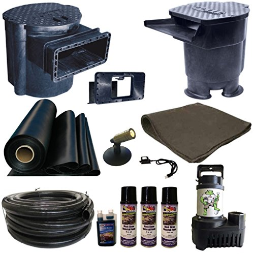 Half Off Ponds' LS8 - 15 ft x 20 ft Large Savio Pond Kit w/ 5,500 GPH Pump, Savio 22 Inch Waterfall, and Skimmer