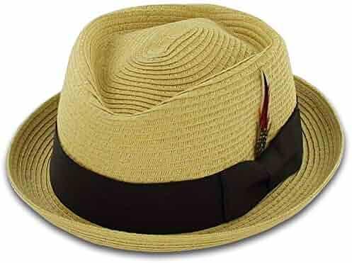 78029186d11d6 Belfry Men Women Summer Straw Pork Pie Trilby Fedora Hat in Blue
