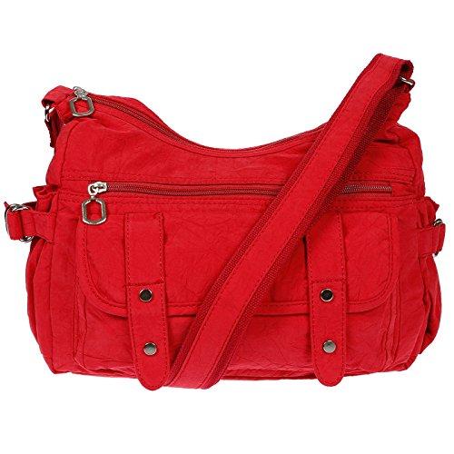 Christian Wippermann® - Bolso al hombro para mujer Beige beige 32 x 26 x 13 cm rojo